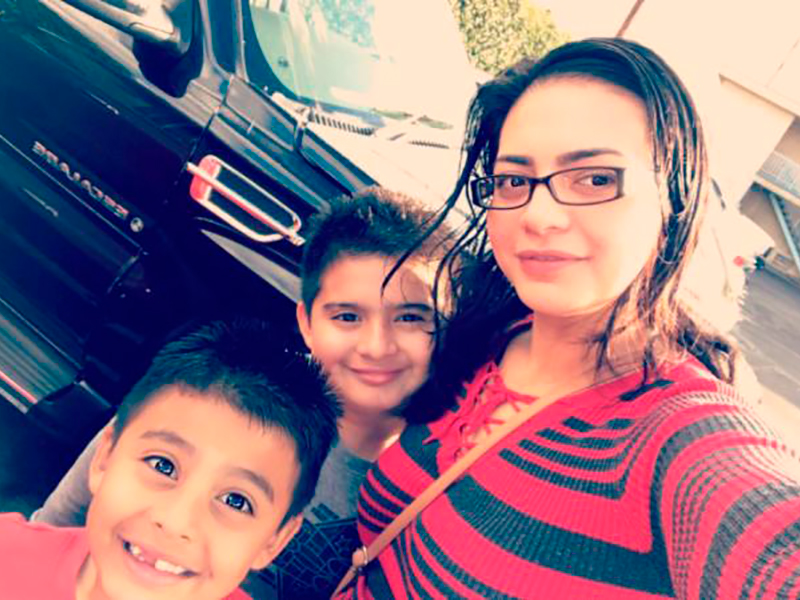 Talia Flores with her kids