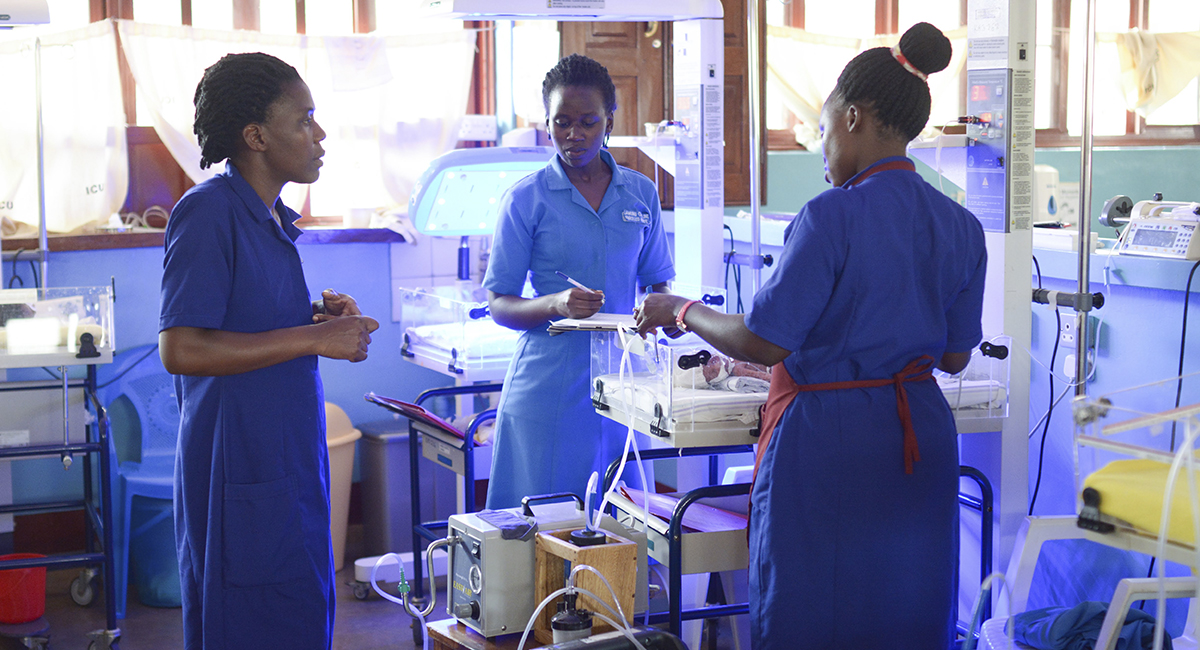 NICU Nurses attend to a baby in Uganda.